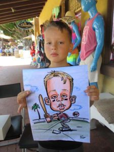 baseball caricature for child birthday