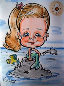 caricature mermaid theme